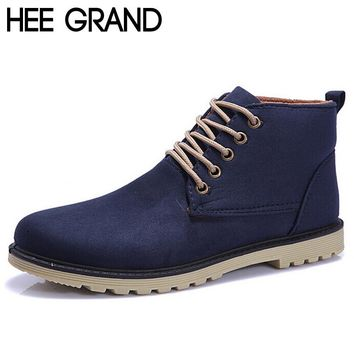 HEE GRAND Brand 2017 Fashion Men Winter Shoes Lace-up Ankle Boots,Warm Cotton Inside Men Footwear Street Motorcycle Boots XMX258