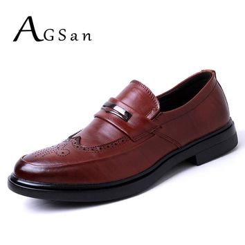 AGSan Genuine Leather Men Brogues Shoes Slip On Business Dress Men Oxfords Shoes Male Formal Shoes Black Brown Brogue Masculino