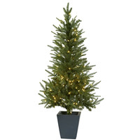 4.5ft Christmas Tree w/Clear Lights & Decorative Planter