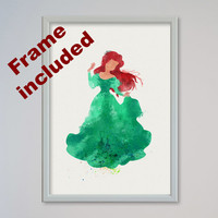 Ariel Little Mermaid Disney Poster FRAMED Watercolor print Kids art Wall art Nursery Art