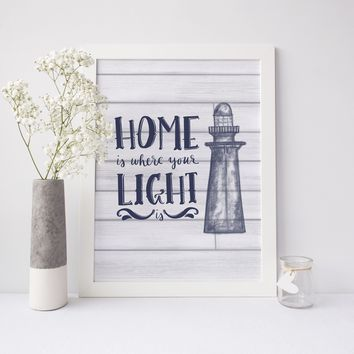 Vintage Lighthouse Home is Where Your Light is Art Print