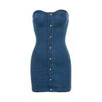 Strapless Denim Mini Dress