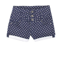 Navy Dot High Waist Short