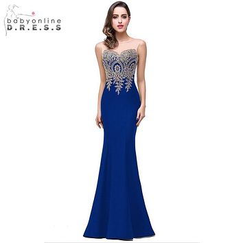 Robe Demoiselle D'honneur Elegant Appliques Lace Royal Blue Bridesmaid Dresses 2017 Cheap Wedding Party Dress Robe de Soiree