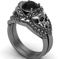 Gun Metal Solid Gold Skull Engagement Ring Set Black Diamond Center