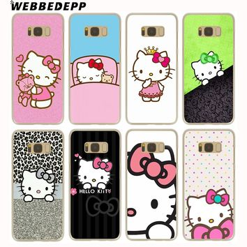 WEBBEDEPP Doraemon And Hello Kitty Hard Transparent Cover Case for Galaxy S9 S8 Plus S7 S6 Edge S5 S4 S3