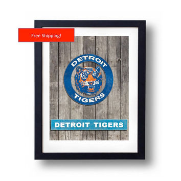 Detroit Tigers Vintage Man Cave Poster 1984 Logo Jersey Custom Framed Art Gift for Him Baseball MLB