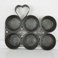 Vintage Muffin Tin and Heart Shaped Cookie or Roll Cutter