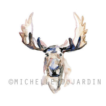 Moose Watercolor painting - Giclee art print - Moose painting Watercolour Animal Painting Antler aquarelle Zen painting