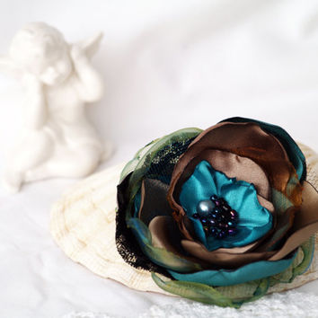 Teal Beige Flower Brooch, Handmade Silk Flower, Cocktail Pin, Floral Corsage Brooch, Birthday Gift, Turquoise Headpiece, Flower Hair Clip