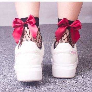 Red Patchwork Hollow-out Bow Sweet Slim Thin Socks