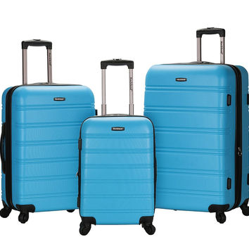 F160-TURQUOISE Melbourne 3 Pc Abs Luggage Set