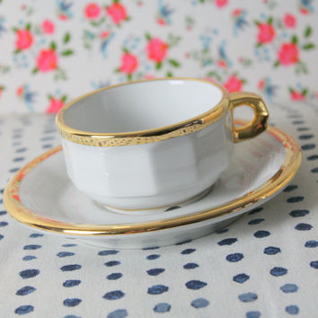 Pillivuyt France- coffee espresso cup- white gold edged cup- French vintage- 80s wedding gift