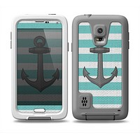 The Teal Stripes with Gray Nautical Anchor Skin for the Samsung Galaxy S5 frē LifeProof Case