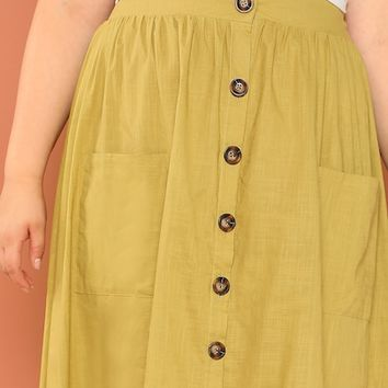 Plus Pocket Front Button Up Skirt