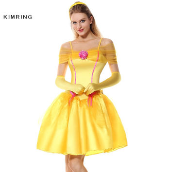 KIMRING BELLE PRINCESS HALLOWEEN COSTUME WOMEN PLUS SIZE MAID FANTASIA MASQUERADE HALLOWEEN ADULT CHRISTMAS COSTUME FANCY DRESS