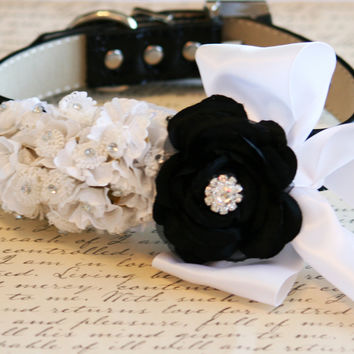 Black and White Wedding dog collar, Floral wedding idea, Dog Lovers