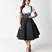 Preorder - Unique Vintage 1950s Black Cat Salem Suspender Swing Skirt