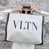Valentino Fashion New Letter Print Canvas Shoulder Bag Handbag