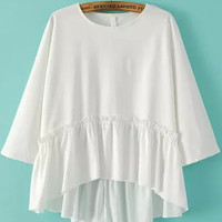 White Long Sleeve Ruffled Bottom Blouse