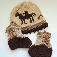 Baby Cowboy Hat and Matching Mocassin Boots, Hand Knit Infant Set
