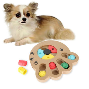 Pet Interactive Toys For Dogs And Cats Food Treated Wooden Eco-friendly Puppy Toy Educational Pet Bone Paw Puzzle Toy