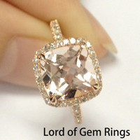 8mm Cushion Cut Pink Morganite Diamonds Engagement Ring Halo in 14K Rose Gold .32ctw