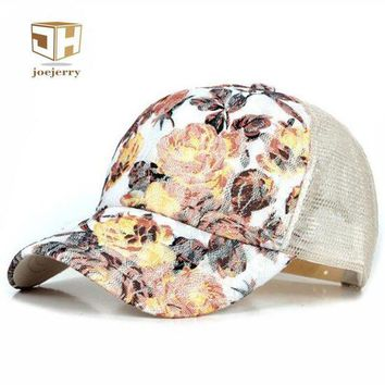 DCCKWJ7 joejerry New Girls Lace Baseball Cap Floral Summer Caps Polyester Mesh Sun Hats For Women Fitted