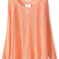 Orange Knit Cutout Long Sleeve Sweater