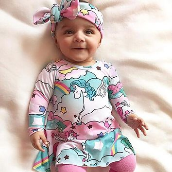 2017 Cute Baby Girl Clothes Winter Long Sleeve Unicorn Printed Dress Headband 2pcs Clothing Sets Toddler Girls Desses Outfits