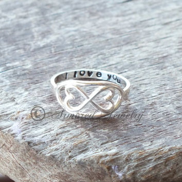 Surrounded by Love Infinite hearts Infinity heart ring Customized - Personalized- Stamped band - Sterling silver - Memorial jewelry