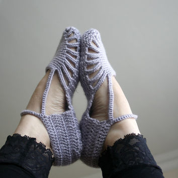 FREE SHIPPING Silver Grey Slippers  gift for women by denizgunes
