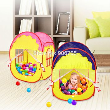 Portable Fairy Tale Princess Castle Childrens Indoor Outdoor Play Tent,pop up Play house of Kids Fun pink and blue
