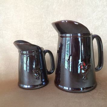 Rooster Pitcher Set, Brown Luster, Mid Century Kitchen, Rooster Pitchers, Milk and Syrup, Retro Kitchen, Vintage Breakfast, Luster Glaze