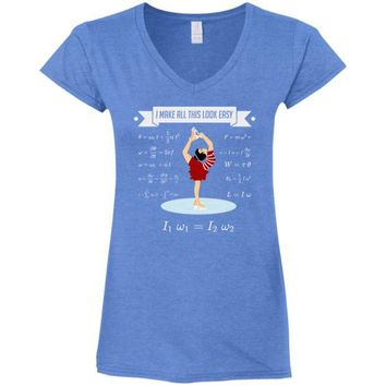 DCCKJY1 Figure Skating Physics Ladies' Fitted Softstyle 4.5 oz V-Neck T-Shirt