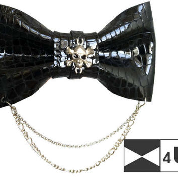 Fancy Leather Bow Tie Skull Exclusive Real Leather Necktie Black with Chain Bowtie OOAK Unique Dickie Bow Party Man Men Lady Gift BowTie4You
