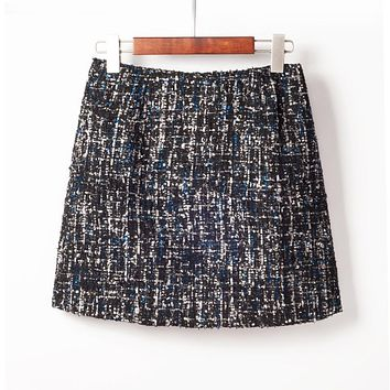 Fresh Style Sequins Tweed Pencil Skirt High Waist Mini Skirt