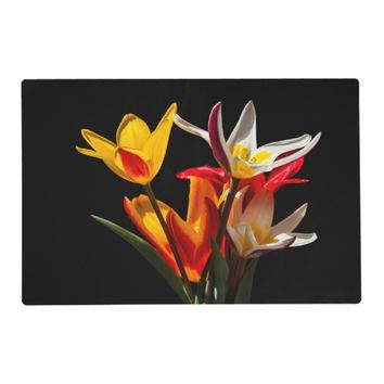Tulip flowers against black background placemat