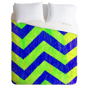 Sophia Buddenhagen Blue Green Chevron Duvet Cover