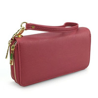 Ladies Double Zip Wristlet Wallet