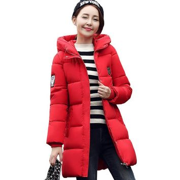 Women 2017 Hot Sale Red Winter Coat Long Down Parkas Fashion Students Slim Female Clothing Thick Jackets Outwear Plus Size 3XL