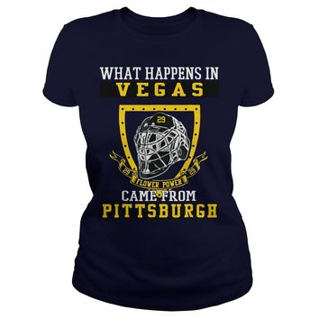 What happens in Vegas flower power came from Pittsburgh shirt Premium Fitted Ladies Tee