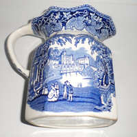 Masons of England Vista Blue and White Ironstone Milk or Cream Jug / Transferware Milk or Cream Jug / circa 1950s / Cobalt Blue on White /