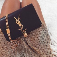 YSL Trending Women Tassel Leather Metal Chain Crossbody Satchel Shoulder Bag I