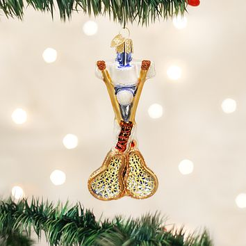 Old World Christmas Handcrafted Blown Glass Ornament -- Lacrosse Set