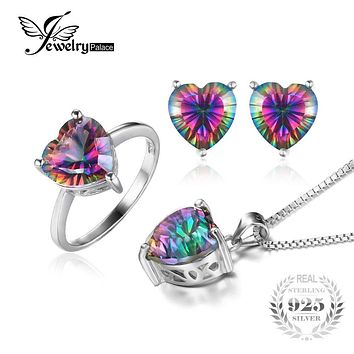 JewelryPalace Heart 4.1ct Genuine Rainbow Fire Mystic Topaz Ring Pendant Earring Set 925 Sterling Silver Fashion Jewelry