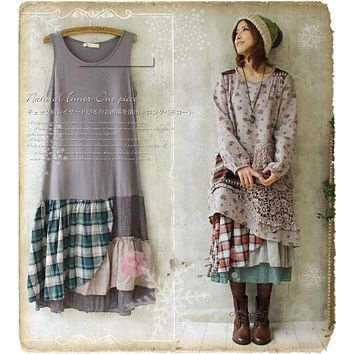 2017 New Women Cotton Linen Plaid Patchwork Tank Bottoming Dress Spring Irregular Japanese Mori Girl Embroidery Laciness Dress