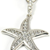 SOLID 14K WHITE GOLD SPARKLY BLING CLEAR CZ HAWAIIAN STARFISH PENDANT 17MM