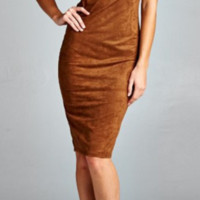 Brown Suede Backless Pencil Dress