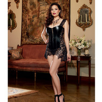 Faux Leather Venice Lace Fully Boned Corset W-hi-low Attached Skirt & Thong Black 44